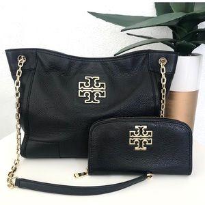TORY BURCH Black Britten Bag & Wallet Matching Set